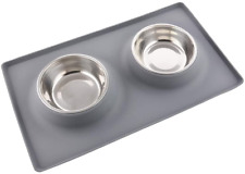 Dog Bowls with Mat, Cat Water Food Mat Bowl 13.5oz Each in No Spill Non-Skid Pet