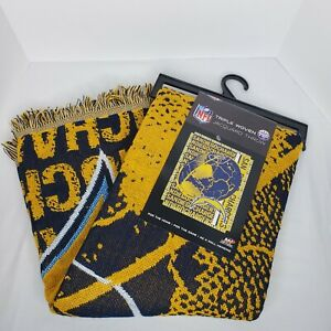 """New NFL San Diego Chargers 46x59"""" Jacquard Triple Woven Throw Blanket Made in US"""