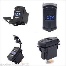 12V Vehicles SUV Rocker Push Switch Blue LED Voltmeter 2-USB Ports Charger Tool