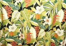 Tropical Hawaiian 100% Cotton Barkcloth Fabric SHOWER CURTAIN ~Kamuela-Black~