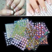 10/50 Sheet Nail Art Transfer Stickers 3D Design Manicure Tips Decal Decorations