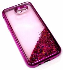 For Samsung Galaxy J3 EMERGE - Hot Pink Glitter Stars Liquid Water Sparkle Case