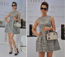 ZARA Silver Jacquard Tulip Structured Party Dress Size S Small Bloggers RARE