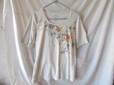 Sonoma Tan Knit Casual Top With Scalloped Neck Floral Print 100% Cotton Size L