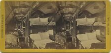 Alfred A. Hart Stereoview (1860s) Pullman's Sleeping Car Interior with beds down