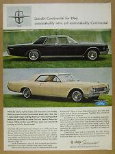 1966 Lincoln Continental Sedan & Coupe color photos vintage print Ad