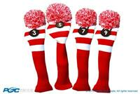Tour #3, 5, 7, 9 Fairway Metal Wood Red White Golf Headcover Knit Pom Pom Cover