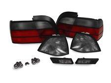 DEPO 12PCS Smoke Corner+Tail+Side Marker Light +Chrome Bulb For 92-96 BMW E36 2D