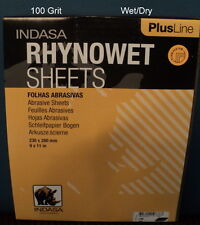 Indasa  Plus  9 x 11, 100 Grit Wet/Dry Sandpaper  25 Sheets  # 1-100. Free Ship.