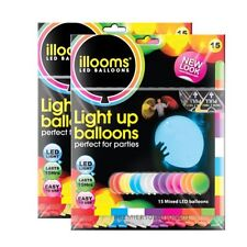 LIGHT UP BALLOONS BY ILLOOM 15 PACK IN MIXED COLOURS PARTY ACCESSORIES