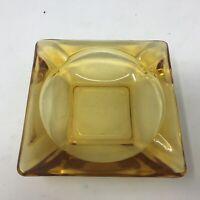 "Vintage Cigarette Cigar Amber Glass Ashtray 4.5"" Square Mid-Century"
