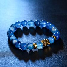 Natural Lava Stone Beads Blue & Gold Buddha Stretch Bracelet DF6