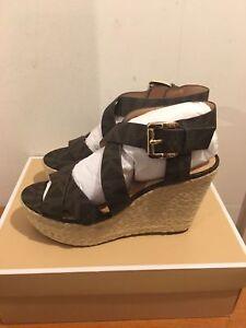 Michael Kors Celia Wedge Sandals Shoes in Brown Monogram - UK  5.5, UK 7