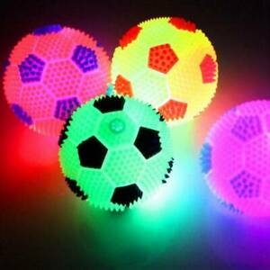 3PC Flashing Football Shape LED Light Sound Bouncy Ball Funny Kids Pet Dog Fun