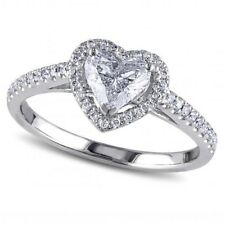 1.00 CT Heart Shaped Diamond Lovely Engagement Ring in Certified 14KT White Gold