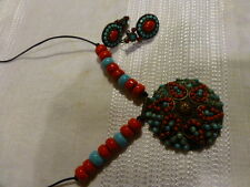 beau collier perles turquoises+boucles assorties