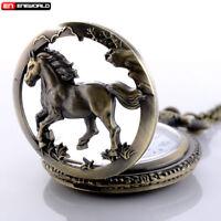 Vintage Retro Pocket Watch Quartz Necklace Pendant Chain Steampunk Mens Antique