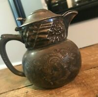 Antique Barbour Company Quadruple Silverplate Hinged Lid Creamer Pitcher Floral