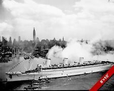 BRITISH QUEEN MARY SHIP IN NEW YORK WORLD WAR 2 WWII PHOTO REAL CANVASART PRINT