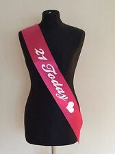 New Girls Pink 21 Today Heart Birthday Sash Sashes Party Night Out Fun Accessory