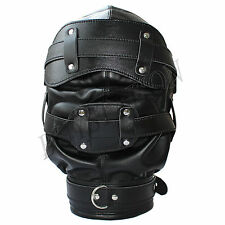Faux Leather Open Mouth Gag Full Gimp Hooded Mask Padded Locking Blindfold Sexy