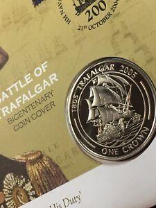 2005 Battle of Trafalgar 200th Anniversary BUNC Gibraltar 1 Crown coin cover