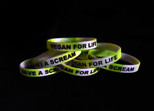 Save A Scream VEGAN FOR LIFE Animal Rights Silicone Wristband Vegan