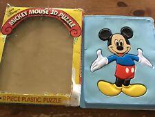 Vintage Mickey Mouse Plastic Puzzle  11 Piece Illco Disney  usa