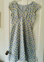 Seasalt 'Polka' Blue and Yellow Floral Summer Cotton Lined Dress Size 14 Per