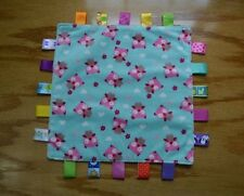 Taggies Owl Heart Flower Lovey Security Blanket Pink Aqua Baby Infant Toy