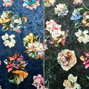 "60"" DESIGNER VELVET MULTI FLORAL PRINT WITH MIRROR CRUSH EFFECT/STRETCH D#314"