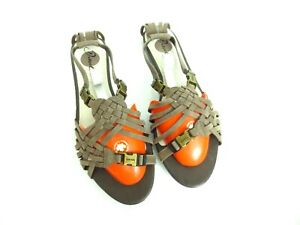 DIESEL Women's Slingback Sandals Brown Leather Buckle Size EUR 39 US 9 [A83]