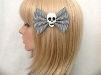 Black white striped skull hair bow clip rockabilly pin up girl cute punk gothic