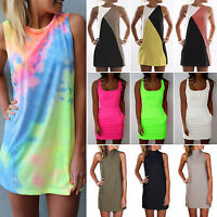 Women Sleeveless Party Evening Cocktail Summer Beach Slim Short Mini Tunic Dress
