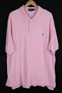 Polo Ralph Lauren Mens Sz 3XLT Pink Short Sleeve Mesh Shirt Blue Pony