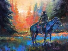 Original Oil Painting Native American Indian MUSTANG WESTERN ART COLLECTOR