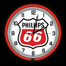 "19"" Phillips 66 Gas Oil Sign Double Neon Clock RED Neon Chrome Finish"
