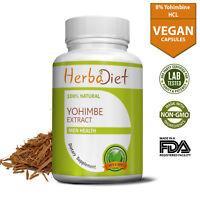 Yohiimbe Bark Extract Capsules Yohimbiine HCL 8% Fat Burner Loss Energy Booster