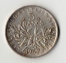 RARE MONNAIE DE 5 FRANCS SEMEUSE ARGENT DE 1967 @ BELLE QUALITE @ SILVER COINS !