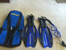 US Divers ProFlex Snorkel Set Youth/adult size 4-7 swim fins mask bag how to CD