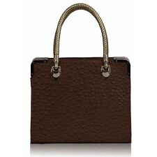 Oak Brown Ostrich Effect Faux Leather Tote Bag