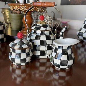 MacKenzie-Childs Courtly Check Enamel Kettle Tea pot, Sugar & Creamer - Set of 3