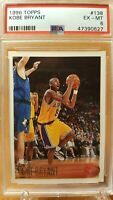 1996-97 Topps #138 Kobe Bryant Los Angeles Lakers RC Rookie HOF PSA 6 EX-MT $$$