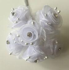 Fiore organza di seta bianca con centro diamante pk6