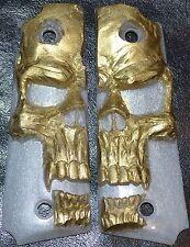 Taurus 1911 full size pistol grips gold skull on pearl plastic