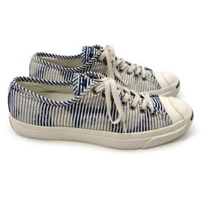 Converse Jack Purcell Salt Wash Blue Striped Sneakers Mens Size 9.5 Unisex RARE!