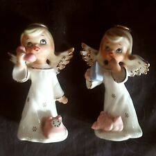 Vtg 2 Napco Angel Figurines one with telephone other with clothes iron, excellen