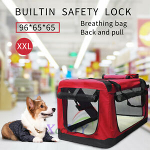 XXL Fabric Soft Pet Crate Kennel Cage Carrier House Dog Cat Travel Bag RED UK