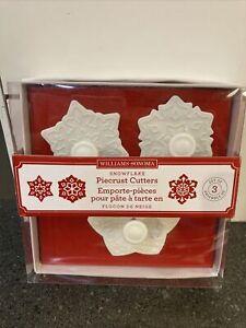 2015 Williams Sonoma Snowflake Piecrust Cutter set of 3 Pastry NIB