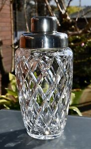 Stunning ! Vintage Cut Crystal and Silver Plate Cocktail Shaker